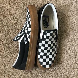 Custom checkered vans with gum bottoms